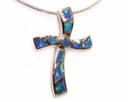 Inlay Opal 925 Silver Rhodium Plated Pendant [CP13]