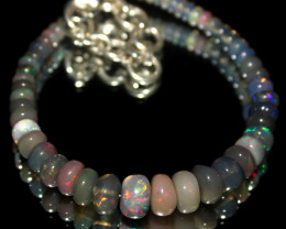 28 Crt Natural Ethiopian Welo Smoked Opal Beads Bracelet 570