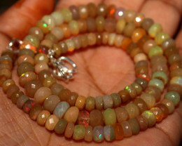 75 Crts Natural Ethiopian Welo Faceted Opal Beads Necklace 82