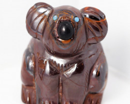 Natural  boulder ironstone Carved into Koala bear BU 2473