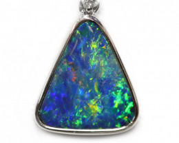 14k Gold Opal Doublet LIGHTNING RIDGE Pendant with DIAMOND [CP15]