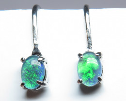 Australian Triplet Opal 7x5mm Screw/Clip  Earrings