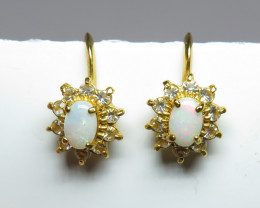 Australian Light Precious Opal GP Screw Back Earrings