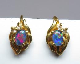 Australian Triplet Opal 6x4mm  GP Screw Earrings