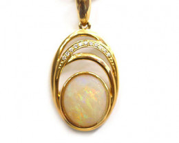 14k Gold Coober Pedy Opal Pendant with diamond [CP35]