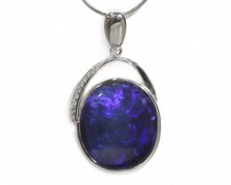 14k Gold Black Opal Pendant with Diamond [CP39]
