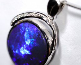 14k Gold Black Opal Pendant with Diamond [CP39]