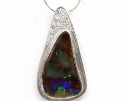 18k Gold Boulder Opal Pendant with Diamond [CP41]