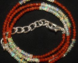 14 Crt Natural Ethiopian Welo Opal & Carnelian Beads Necklace 12