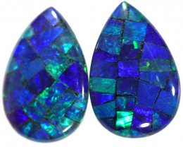 3.55 CTS STUNNING TRIPLET  MOSAIC OPAL PAIR [REL5]