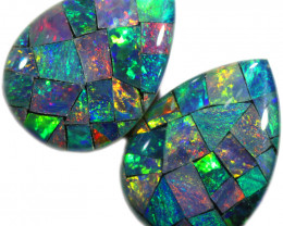 6.95 CTS STUNNING TRIPLET  MOSAIC OPAL PAIR[REL68]