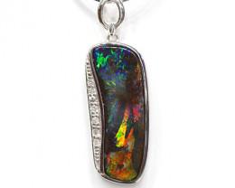 18k Gold Boulder Opal Pendant with Diamond [CP43]