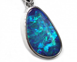 Opal Doublet LIGHTNING RIDGE 14k Gold Pendant with DIAMOND [CP46]