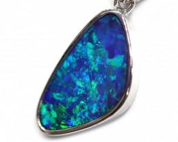 14k Gold Opal Doublet LIGHTNING RIDGE Pendant with DIAMOND [CP47]