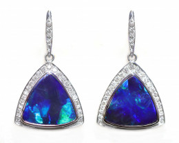Opal Doublet LIGHTNING RIDGE 18k Gold Earrings with DIAMOND [CE01]