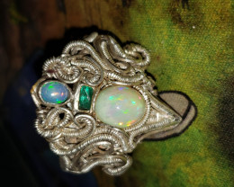 Ethiopian and emerald ring size 11
