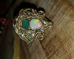 Opal, emeralds and ruby Ring size 10 1/2