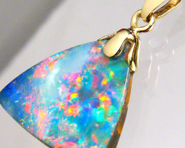Natural Australian Opal Pendant 5.5ct 14kt Gold Genuine Fine Jewelry Gift B