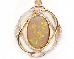Crystal Opal LIGHTNING RIDGE 14k Gold Pendant with DIAMOND [CP48]