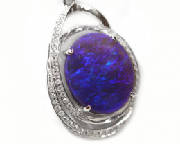 18k Gold Black Opal Pendant with Diamond [CP49]