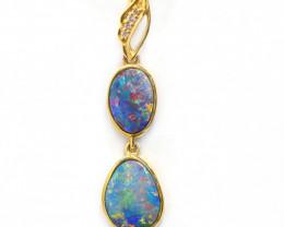 Opal Doublet LIGHTNING RIDGE18k Gold Pendant with DIAMOND [CP52]
