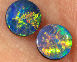 Pair for Earring 0.75ct 5mm Coober Pedy Opal Doublet [PDO-227]