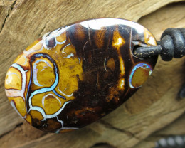 46cts, BOULDER MATRIX OPAL~LEATHER PENDANT