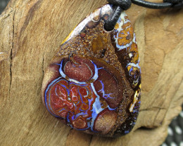 41cts, BOULDER MATRIX OPAL~LEATHER PENDANT