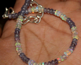 16 Crts Natural Welo Opal & Tanzanite Beads Bracelet 423