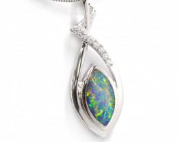 925 ST/ SILVER RHODIUM LATED OPAL DOUBLET PENDANT [CP54]
