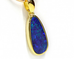 925 ST/ SILVER GOLD PLATED OPAL DOUBLET PENDANT [CP59]