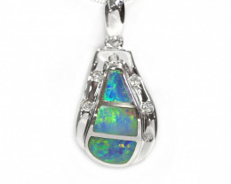925 ST/ SILVER RHODIUM PLATED OPAL DOUBLET PENDANT [CP53]
