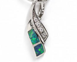 925 ST/ SILVER RHODIUM PLATED OPAL DOUBLET PENDANT [CP57]