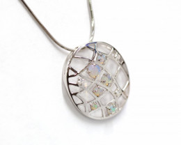 Coober Pedy Opal 925 SILVER Rhodium Plated Pendant [CP56]