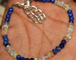 16 Crts Natural Welo Opal & Lapis Lazuli Beads Bracelet 5