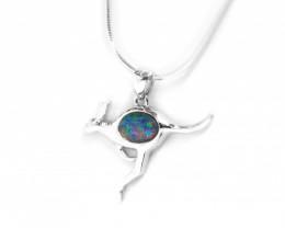 Opal Triplet 925 Silver Rhodium Plated Pendant kangaroo[CP65]