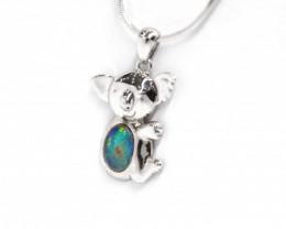 Opal Triplet 925 Silver Rhodium Plated Pendant Koala[CP69]