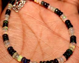 14 Crts Natural Welo Opal & Smoked Opal Beads Bracelet 436