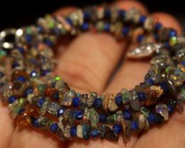 27 Crt Natural Ethiopian Welo Smoked Uncut Opal & Lapis Lazuli Beads