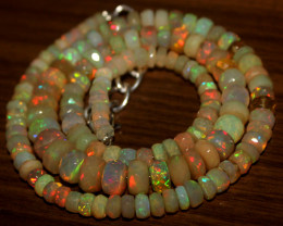 77 Crts Natural Ethiopian Welo Faceted Opal Beads Necklace 15