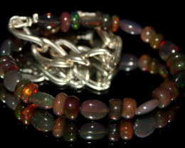 23 Crts Natural Welo Smoked Opal Beads & Nuggets Bracelet 589