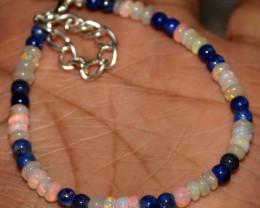 20 Crts Natural Welo Opal & Lapis Lazuli Beads Bracelet 431
