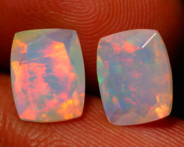 2.66 CT Top Quality Faceted Cut Ethiopian Opal Pair-ECF576