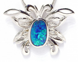 925 ST/ SILVER RHODIUM PLATED OPAL DOUBLET PENDANT [CP72]