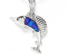 925 ST/ SILVER RHODIUM PLATED OPAL DOUBLET PENDANT [CP81]