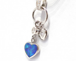 925 ST/ SILVER RHODIUM PLATED OPAL DOUBLET PENDANT [CP70]