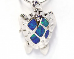 Inlay Opal 925 Silver Rhodium Plated Pendant [CP79]