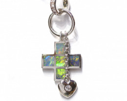 925 ST/ SILVER RHODIUM PLATED OPAL INLAY PENDANT [CP71]
