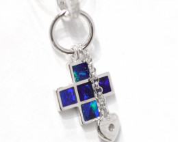 Inlay Opal 925 Silver Rhodium Plated Pendant [CP80]