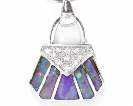925 ST/ SILVER RHODIUM PLATED OPAL INLAY PENDANT [CP78]
